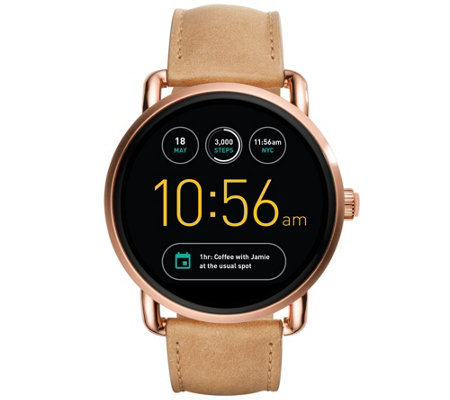 Fossil Q Smart Watch Wander- Light Brown Leather Strap