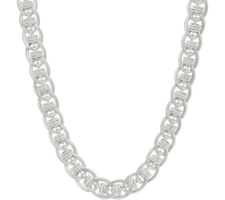 "Judith Ripka Verona 18"" Sterling Silver Oval Link Necklace 62.0g"