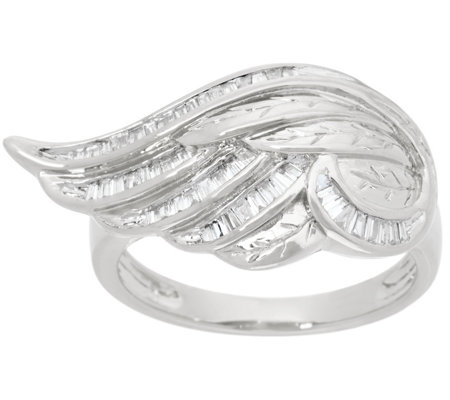 """As Is"" Baguette Diamond Angel Wing Ring Sterl by Affinity"