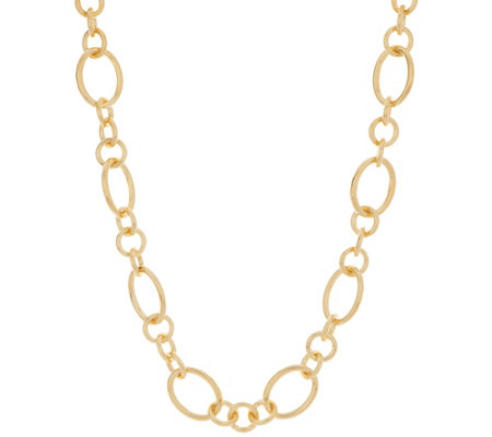 "Oro Nuovo 24"" Polished Status Link Necklace, 14K"