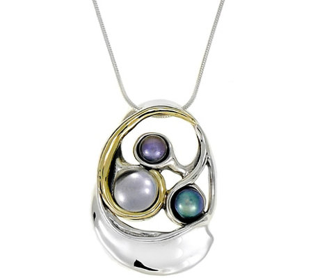 Hagit Sterling & 14K Pendant with Cultured Freshwater Pearls
