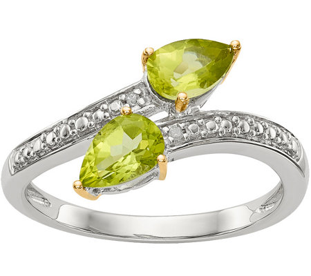 Sterling & 14K Peridot and Diamond Bypass Ring