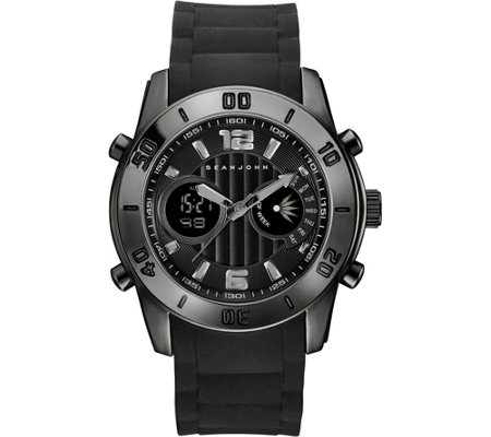 Sean John Men's Black Analog Digital Silicone Watch