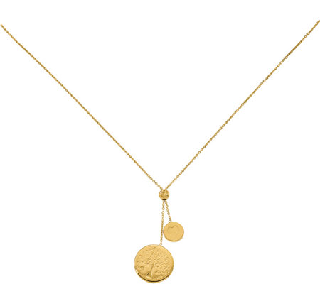 Italian Gold Heart & Tree of Life Lariat Necklace, 14K