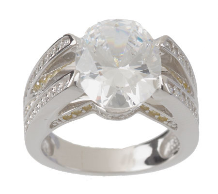 Epiphany Diamonique 5.60 ct tw Tension Set Oval Cut Ring
