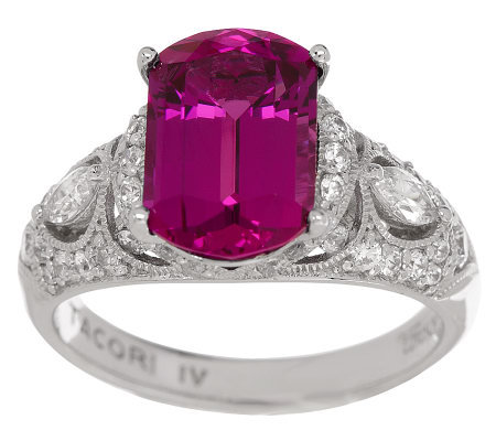 Tacori IV Diamonique Epiphany Lab-Created Rubellite Ring