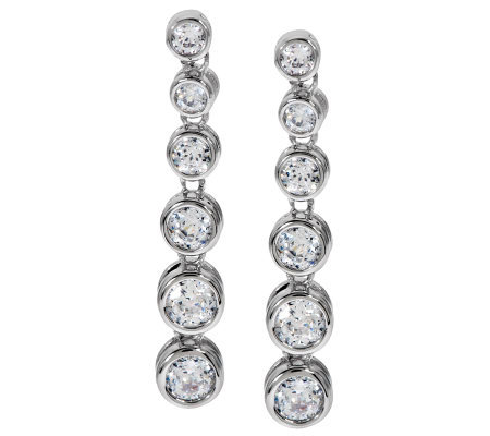 Epiphany Diamonique 100-Facet Bezel Set Drop Earrings