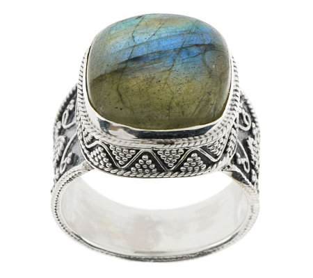 Artisan Crafted Sterling Cushion Shape Labradorite Ring