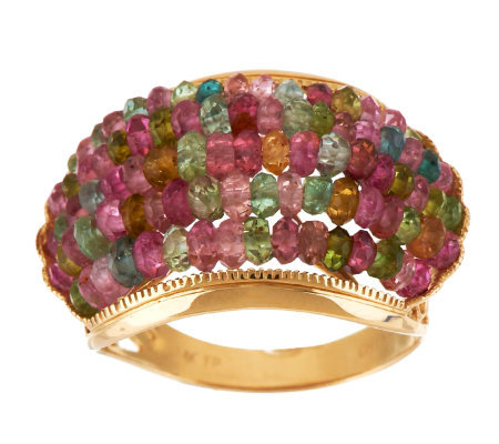 7.00 ct tw Colors of Tourmaline Band Ring, 14K Gold