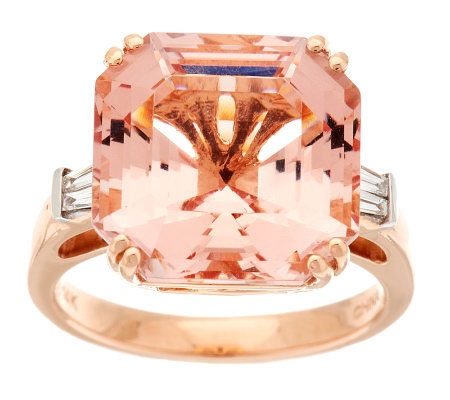 Premier 10.00 cts Asscher Cut Morganite Ring, 14K Gold