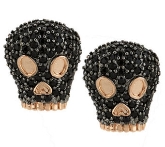 Bronze Black Spinel Skull Stud Earrings by Bronzo Italia - J285527