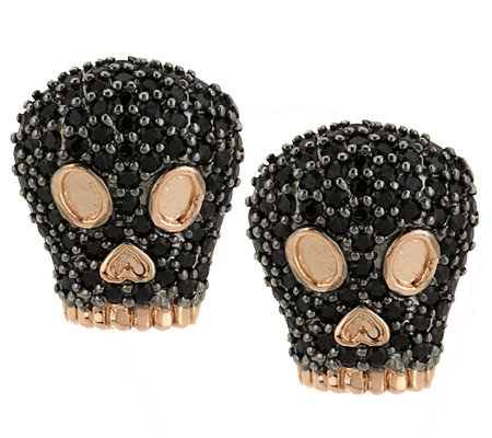 Bronze Black Spinel Skull Stud Earrings by Bronzo Italia