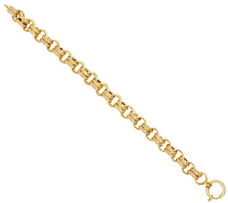 "14K Gold 8"" Textured Double Rolo Link Bracelet, 15.8g"