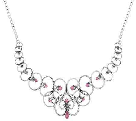 Carolyn Pollack Sterling & Pink Sapphire Statement Necklace