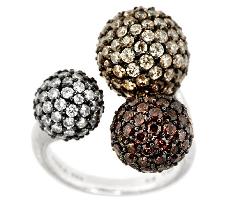 Judith Ripka Sterling 6.50cttw Diamonique Pave Multi-Bead Ring