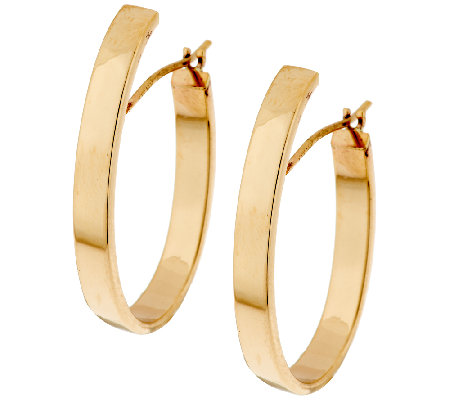 "14K Gold 1"" Polished Oval Tube Hoop Earrings"