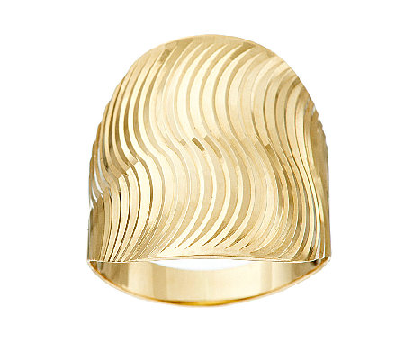 14K Gold Polished & Textured Swirl Design Ring