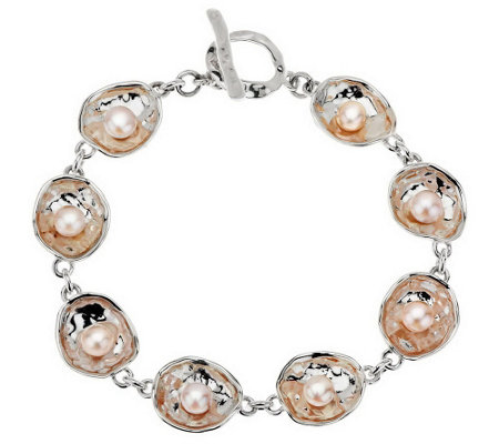 """As Is"" Hagit Sterling 7-3/4"" Reflections Cultured Pearl Bracelet"