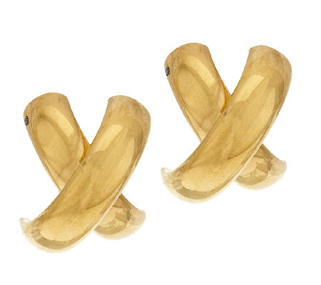 High Polished 'X' Design Earrings, 14K