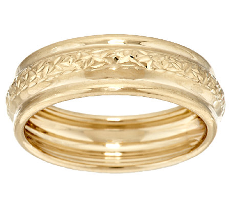 EternaGold Crystal Cut & Polished Band Ring 14K Yellow Gold