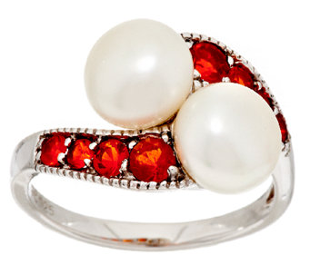 Honora Cultured Pearl 8.0mm & 0.40 cttw Fire Opal Sterling Ring - J294627
