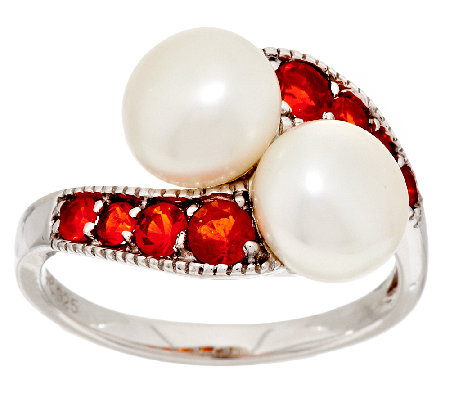 Honora Cultured Pearl 8.0mm & 0.40 cttw Fire Opal Sterling Ring
