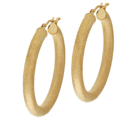 "VicenzaGold 1-1/4"" Textured Round Hoop Earrings 14K Gold"