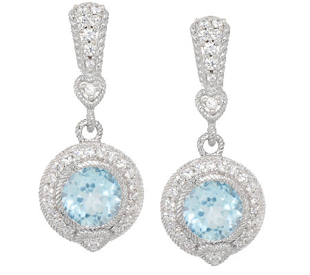 Judith Ripka Sterling & Diamonique 3.95 ct Blue Topaz Earrings