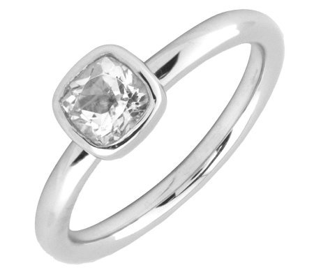 Simply Stacks Sterling Cushion Cut WhiteTopaz Ring