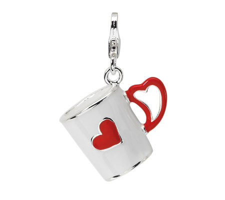 Amore La Vita Sterling Dimensional Coffee Cupw/Heart Charm
