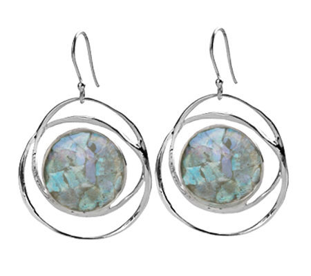 Or Paz Sterling Roman Glass Circle Dangle Earrings