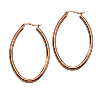 Stainless Steel Chocolate-Plated Oval Hoop Earrings - J302227