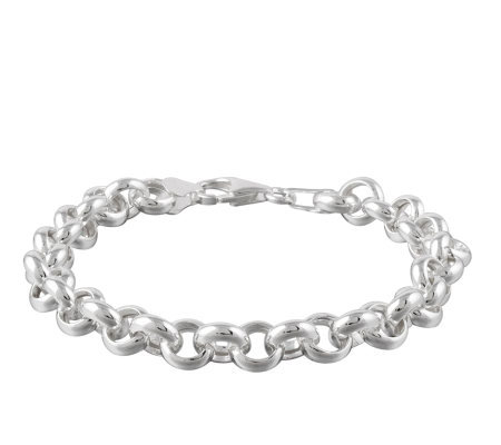 "UltraFine Silver 7-1/4"" Polished Rolo Link Bracelet, 11.7g"