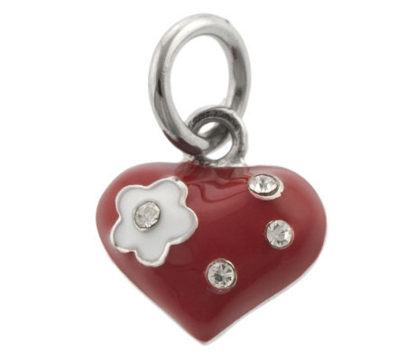 Mixers Sterling Enamel & Crystal Heart Pendant
