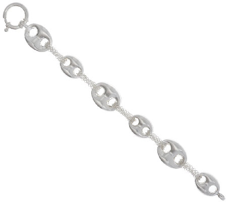 "Sterling Silver 6-3/4"" Marine Link Bracelet by Silver Style"