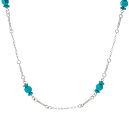 "Vicenza Silver Sterling 20"" Turquoise Bead Station Necklace"