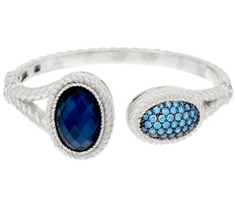Judith Ripka Sterling Pave' Diamonique & Gemstone Doublet Cuff - J321827