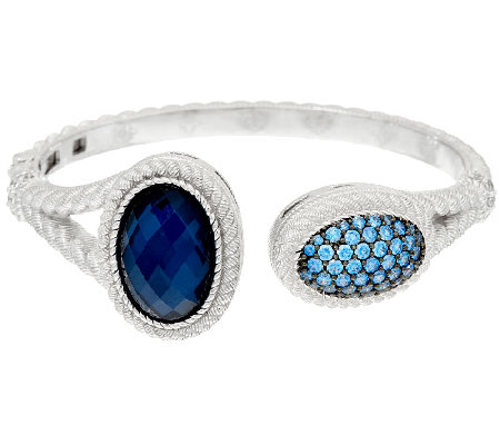 Judith Ripka Sterling Pave' Diamonique & Gemstone Doublet Cuff