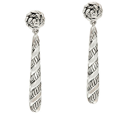 JAI Sterling Silver Sukhothai Texture Stick Earrings