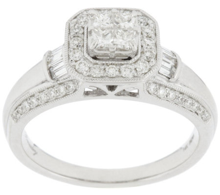 """As Is"" Michael Beaudry 71/10 ct tw Diamond Cushion Halo Ring, 14K"