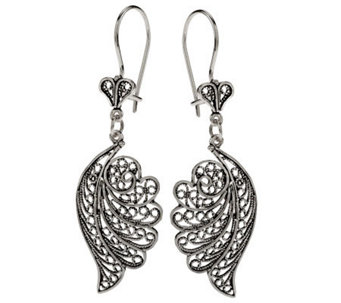 """As Is"" Artisan Crafted SterlingTelkari Filigree Wing Earrings - J327927"