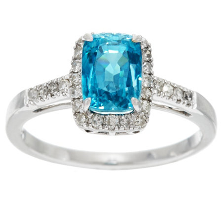 Cushion Blue Zircon & Diamond Solitaire Ring 14K, 3.00 ct