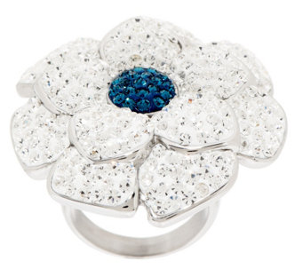 """As Is"" Stainless Steel Bold Crystal Flower Ring - J329727"