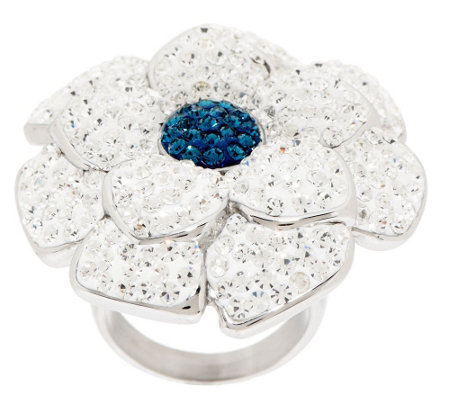 """As Is"" Stainless Steel Bold Crystal Flower Ring"