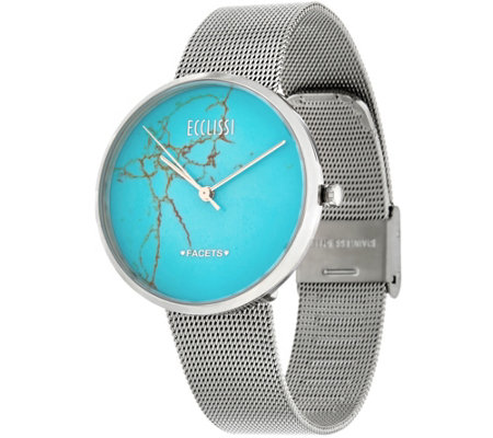 Ecclissi Facets Gemstone Dial Stainless Steel Adjustable Watch