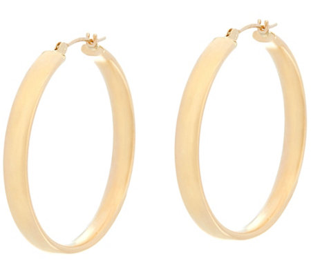 "14K Gold 1-1/4"" Round Polished Wedding Band Hoop Earrings"