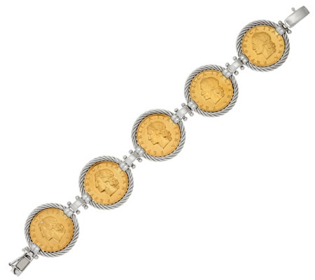 """As Is"" Italian Silver Sterling Authentic Lire Coin Bracelet"
