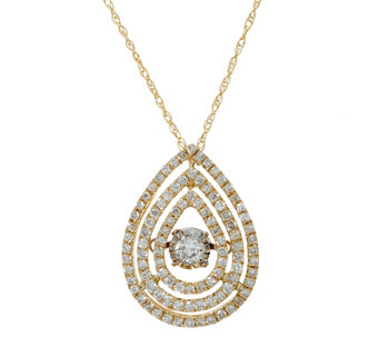 """As Is"" Triple Pear Shaped Halo Dancing Diamond Pendant 1/2 ct Affinity - J331527"