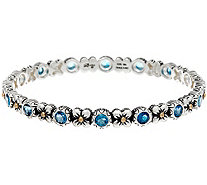 Barbara Bixby Sterling & 18K Flower & Gemstone Bangle - J331627