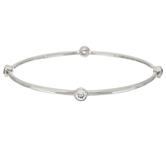 """As Is"" Diamonique Stainless Steel Station Bangle - J331727"